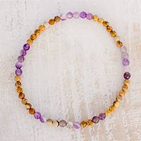 Jasper and amethyst beaded stretch anklet, 'Magical Gems' - Jade and Amethyst Beaded Stretch Anklet from Guatemala