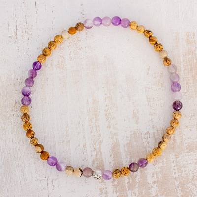 Jasper and amethyst beaded stretch anklet, Magical Gems