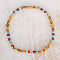 Multi-gemstone beaded stretch anklet, 'Ocean Floor' - Multi-Gemstone Beaded Stretch Anklet from Guatemala