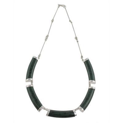 Jade Link Pendant Necklace in Dark Green from Guatemala