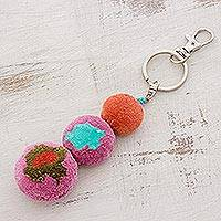Cotton keychain, 'Pastel Burst' - Handmade Colorful Cotton Keychain from Guatemala