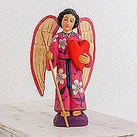 Wood sculpture, 'Loving Angel' - Hand-Painted Wood Loving Angel Sculpture from Guatemala