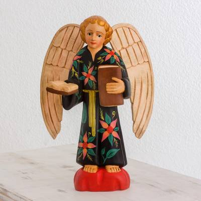 Wood sculpture, 'Wise Angel' - Hand-Painted Wood Angel Sculpture from Guatemala