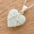 Jade pendant necklace, 'Hopeful Destiny' - Jade and Sterling Silver Heart Pendant Necklace (image 2b) thumbail