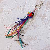 Cotton keychain, 'Rainbow Connection' - Rainbow Color Cotton Pompom Ribbon and Bead Tassel Keychain