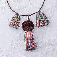 Cotton pendant necklace Kaleidoscope Cascade (Guatemala)