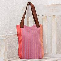Leather accent cotton tote bag, 'Beach Bright' - Mauve and Orange Striped Handwoven Cotton Leather Strap Tote