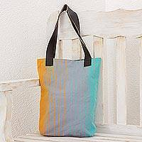 Leather accent cotton tote bag, 'Surf's Edge' - Grey Blue Yellow Striped Handwoven Cotton Leather Strap Tote
