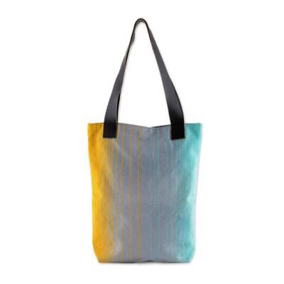 Grey Blue Yellow Striped Handwoven Cotton Leather Strap Tote