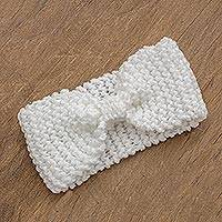 Hand-knit ear warmer, 'Elegant Warmth in White' - Hand-Knit Ear Warmer in White from Guatemala