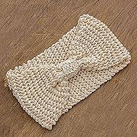 Hand-knit ear warmer, 'Elegant Warmth in Eggshell' - Hand-Knit Ear Warmer in Eggshell from Guatemala