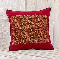 Cotton cushion cover, 'Mayan Rhombi' - Geometric Motif Cotton Cushion Cover in Red from Guatemala
