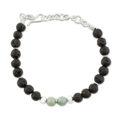Jade and Lava Stone Beaded Bracelet from Guatemala