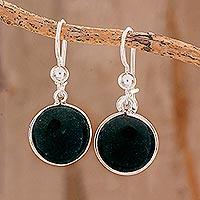 Jade dangle earrings, 'Dark Green World of Jade' (Guatemala)