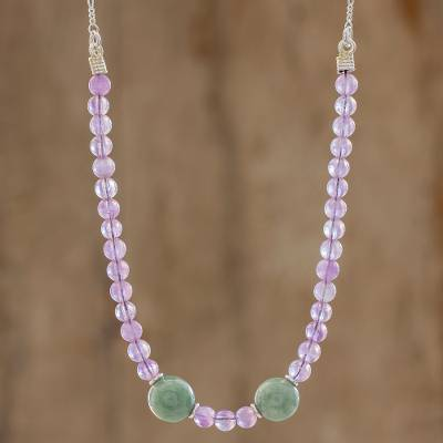Jade and amethyst beaded necklace, 'Mayan Colors' - Jade and Amethyst Beaded Necklace from Guatemala