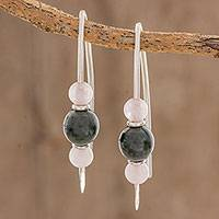 Jade and rose quartz drop earrings, 'Dark Green Mayan Earth' - Dark Green Jade and Rose Quartz Earrings from Guatemala