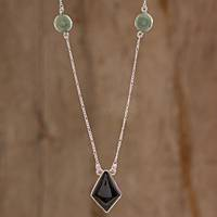 Jade pendant necklace, 'Black Rhombus' - Black Jade Rhombus Necklace from Guatemala
