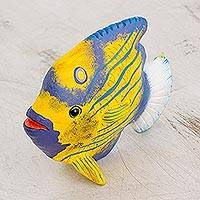 Ceramic figurine, 'Blue Ring Angelfish' - Ceramic Blue Ring Angelfish Figurine from Guatemala