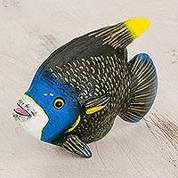Ceramic figurine, 'Discus' - Ceramic Discus Fish Figurine from Guatemala