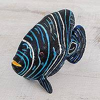 Ceramic figurine, 'Young Emperor Angelfish' - Ceramic Young Emperor Angelfish Figurine from Guatemala