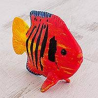 Ceramic figurine, 'Flame Angel Fish' - Hand-Painted Ceramic Fish Figurine from Guatemala