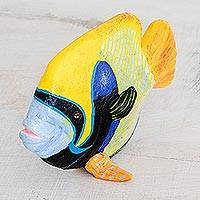 Ceramic figurine, 'Emperor Angelfish' - Ceramic Emperor Angelfish Figurine from Guatemala