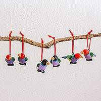 Ceramic ornaments, 'Gouldian Finches' (set of 6) - Set of Six Hand-Painted Ceramic Bird Ornaments