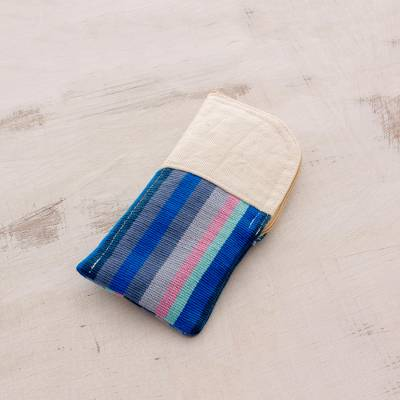 Cotton eyeglasses case, 'Lake Stripes' - Handwoven Striped Cotton Eyeglasses Case from Guatemala