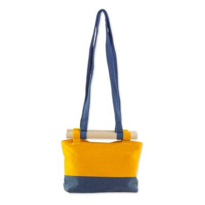 Cotton Handbag in Marigold and Azure from Guatemala