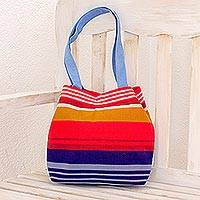 Cotton shoulder bag, 'Party Stripes' - Multicolored Striped Cotton Shoulder Bag from Guatemala