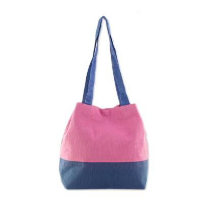 Cotton Shoulder Bag in Pink and Blue from Guatemala