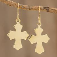 Brass dangle earrings, 'Pointed Cross' - Handcrafted Brass Pointed Cross Dangle Earrings