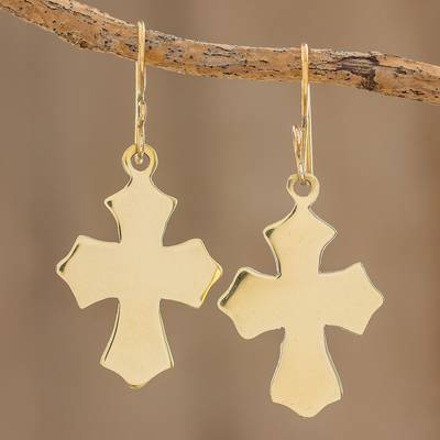 Brass dangle earrings, Pointed Cross