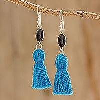 Onyx dangle earrings, 'Dark Skies' - Onyx and Blue Tassel Dangle Earrings from Guatemala