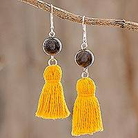 Tiger's eye dangle earrings, 'Yellow Achik' - Tiger's Eye and Yellow Tassel Dangle Earrings from Guatemala