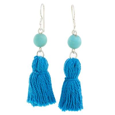 Recon Turquoise and Blue Tassel Earrings from Guatemala