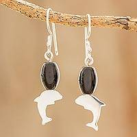 Onyx dangle earrings, 'Swimming Through the Ocean' - Onyx Dolphin Dangle Earrings from Guatemala