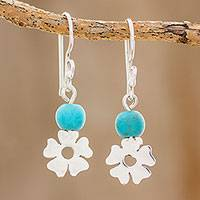 Sterling silver dangle earrings, 'Rapturous Flowers' - Floral Sterling Silver and Turquoise Earrings from Guatemala