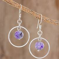 Fluorite dangle earrings, 'Violet in Spring' - Violet Fluorite Dangle Earrings Crafted in Guatemala