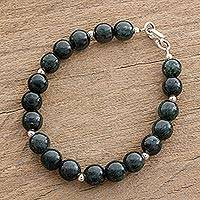 Jade beaded bracelet, 'Mayan Orbs' - Dark Green Jade Beaded Bracelet from Guatemala