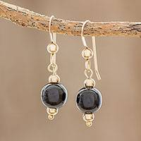 Gold-filled jade dangle earrings, 'Ancestral Treasures' - 14k Gold-Filed Black Jade Dangle Earrings from Guatemala