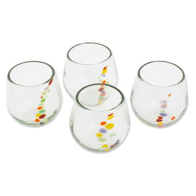Recycled glass stemless wine glasses, 'Happy Trails' (set of 4) - Hand Blown Recycled Colorful Dot Stemless Glasses (Set of 4)