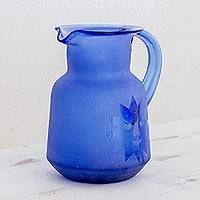 Recycled glass pitcher, 'Day to Night in Cobalt' - Hand Blown Recycled Glass Cobalt Blue Sun and Moon Pitcher