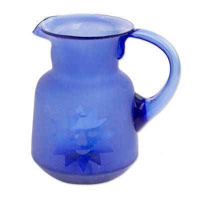 Hand Blown Recycled Glass Cobalt Blue Sun and Moon Pitcher