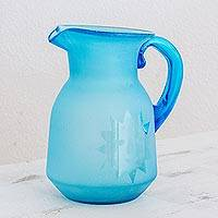Recycled glass pitcher, 'Day to Night in Sky Blue' - Hand Blown Recycled Glass Sky Blue Sun and Moon Pitcher