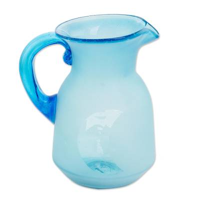 Hand Blown Recycled Glass Sky Blue Sun and Moon Pitcher