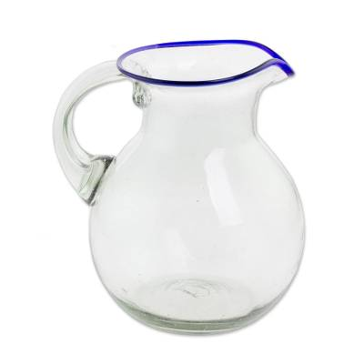 Clear Blue Rimmed Hand Blown Recycled Glass Pitcher