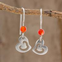 Agate dangle earrings, 'Tilted Love' - Sterling Silver Heart Orange Agate Bead Dangle Earrings