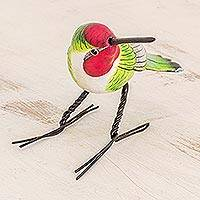 Ceramic figurine, 'Anna's Hummingbird' - Handcrafted Red-Headed Anna's Hummingbird Ceramic Figurine