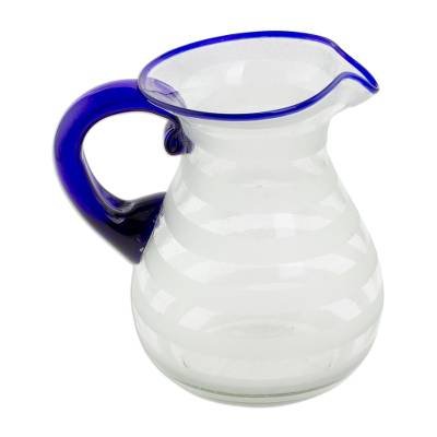 Hand Blown Recycled Glass Pitcher Frosted Stripe Blue Accent